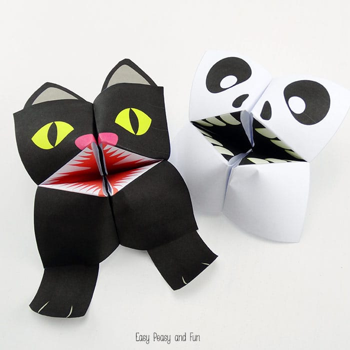 Cat Halloween Crafts - black cat origami- Easy Peasy Fun