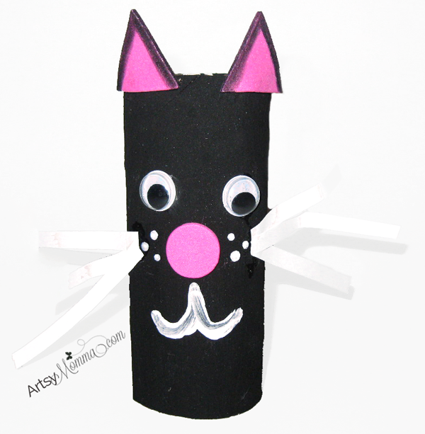 Cat Halloween Crafts - Cat Toilet Paper Roll - Artsy Mom